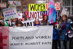 TRIBUNE PHOTO: DIEGO DIAZ - About 1,000 people gathered in downtown Portland Saturday, Dec. 3, to protest what are expected to be policies by President-elect Donald Trump.