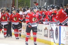COURTESY: DAYNA FJORD/PORTLAND WINTERHAWKS - Winterhawks forward Evan Weinger celebrates his goal against the Medicine Hat Tigers with the Portland bench Sunday at Memorial Coliseum.
