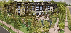 SUBMITTED PHOTO - An artist's rendering prepared for Myhre Group Architects offers an aerial view of the proposed The Springs at Lake Oswego, looking northwest from the corner of Boones Ferry Road and Kruse Way.