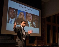 NEWS-TIMES PHOTO: CHASE ALLGOOD - Harris Zafar talked about how distorted, anti-Muslim comments have moved from uninformed and sometimes kooky online or television commentators to politicians, including (left, top) Ben Carson, President-elect Donald Trumps nominee for Secretary of Housing and Urban Development, who once said Muslims who embrace American values and Islamic law must be schizophrenic.
