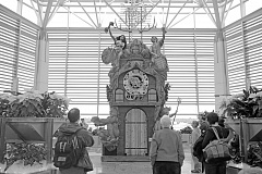 PORTLAND TRIBUNE FILE PHOTO - Travel Portland's 7,000-pound cuckoo clock could not find a home in its original form due to its size. It was disassembled and portions are being regifted.