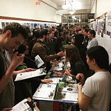 COURTESY PHOTO: NATALIE SEPT - People flocked to sign up with activist organizations at tables set up at a post-election forum called What Now? at Revolution Hall. Natalie Sept, a longtime Portland activist and member of the new Pantsuit Nation political movement, organized the event.