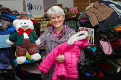 REVIEW FILE PHOTO - Peggy Dickerson is once again spearheading Hope Sparrow Services' efforts to collect coats, toys and food for the area's families in need.
