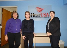 BARBARA SHERMAN - Maryjane Davey (left), the new patient care coordinator at HearUSA in the King City Professonal Building, stands with audiologst Kimberley Dotson and retiring patient care coordinatore Joyce Harms.