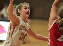 PAMPLIN MEDIA: DAVID BALL - Clackamas CCs Kayce Mock puts up defensive pressure in the back court during the second half.