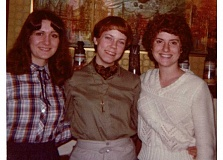 SUBMITTED PHOTO - Co-authors and friends Sara Cole (from left), KC Cowan and Nancy Danner pose around 30 years ago, when they first started writing a draft of their fantasy novel.