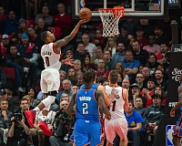 TRIBUNE PHOTO: JOSH KULLA - Trail Blazers guard Damian Lillard goes to the basket with ease Tuesday night against the Oklahoma City Thunder.