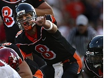 TRIBUNE FILE PHOTO: L.E. BASKOW - It's been 10 years plus since Matt Moore was calling signals for Mike Riley's Oregon State Beavers against Eastern Washington. Moore is still a productive, valuable quarterback, as Miami Dolphins fans were reminded of this past week.