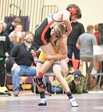 LON AUSTIN/CENTRAL OEGONIAN - Luke Brewer wrestles Mountain View's Evan McLean in the 126 pound semifinals. McLean won the match 8-4 and went on to place second in the tournament, while Brewer finished fifth.