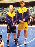 PHOTO COURTESY OF KIM WOODWARD - Pacer Quire (left) and Cade Woodward stand together after both wrestlers placed sixth at the Reno Tournament of Champions. The duo are the first two Crook County wrestlers to place two years in a row at the prestigious tournament.