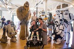 SUBMITTED PHOTO - Bryce Amiel was overjoyed during his Star Wars themed Make A Wish Foundation party July 30, surrounded by his favoirte characters, friends and family.