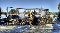 PHOTO COURTESY OF CROOK COUNTY FIRE AND RESCUE - Local firefighters extinguish a burnt motor home that was occupied by two local residents.