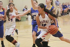 WILL DENNER/MADRAS PIONEER - Madras put together a complete game against Crook County in its last game of the tournament. Jackie Zamora (12) chipped in 12 points and had another strong defensive outing.