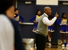 TRIBUNE PHOTO: JONATHAN HOUSE - Coach Pat Strickland's Jefferson Democrats are atop the Class 6A boys basketball rankings.