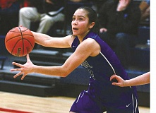 PHIL HAWKINS - Senior guard Griselda Vargas-Ayala drives to the lane during St. Paul's 38-21 loss at Kennedy Jan. 3. The Bucks bounced back to beat Central Linn 34-30 Friday.