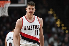 TRIBUNE PHOTO: JOSH KULLA - Trail Blazers forward Meyers Leonard reacts to a call during Portland's loss Friday night at home against the Orlando Magic.