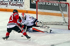 COURTESY: ALLEN DOUGLAS - Portland Winterhawks forward Skyler McKenzie is thwarted by Kamloops Blazers goalie Connor Ingram during overtime Friday night at Kamloops.