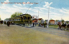 IMAGE: POSTCARD - A hand-tinted postcard picture shows the Oregon Electric railway train leaving Salem, heading north to Portland, circa 1910.