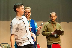 NEWS PHOTO: JOSH KULLA - Deacon Erickson is announced as the winner of Estacada Middle School's National Geographic Bee.