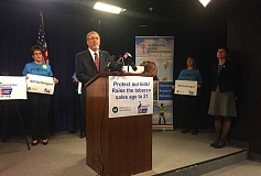 PAMPLIN MEDIA GROUP PHOTO: PARIS ACHEN - Rep. Richard Vial, R-Scholls, announces that he will co-sponsor legislation to raise the legal smoking age to 21 during a news conference Wednesday at the State Capitol in Salem.