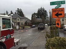 PHOTO COURTESY: CLACKAMAS FIRE - Icy conditions were evident on Feb. 3 near the intersection of Cambray Way and Wyndham Way near Happy Valley.
