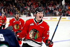 COURTESY: BRYAN HEIM/PORTLAND WINTERHAWKS - Portland Winterhawks forward Joachim Blichfeld celebrates his goal against the Seattle Thunderbirds at Moda Center on Saturday.