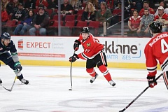 COURTESY: ALEX OVERHARDT - Alex Overhardt of the Portland Winterhawks snaps a shot during a sold-out game against the Seattle Thunderbirds Saturday at Moda Center.