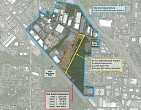 COURTESY OF THE CITY OF TIGARD - On this map of the Hunziker Industrial Core, a red dotted line shows the planned route that will provide an alternative connection between Hunziker Street and 72nd Avenue.