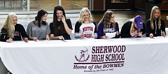 DAN BROOD - Sherwood High School soccer seniors (from left) Rita Lang, Chloe Shumaker, Daria Brandt, Kennedy Clay, Emma Smith, Madison Reimer and Kailen Fried signed their letters of intent last week.