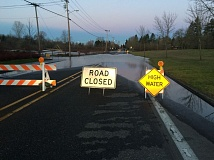 COURTESY OF THE CITY OF TUALATIN - High water atop Nyberg Lane at Browns Ferry Park in east Tualatin has the road closed as of Monday morning. The closure could last until mid-week, according to Tualatin Public Works Director Jerry Postema.