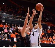 COURTESY: DAVE NISHITANI/OREGON STATE - Breanna Brown (right) is one of the inside players for Oregon State who can complement the backcourt leadership of Sydney Wiese.