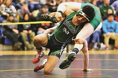 JO WHEAT - North Marion sophomore Avidan Sanchez was one of five Huskies to win district championships. In total, the North Marion wrestling team will send 12 members to the 2017 4A State Championship tournament in Portland on Feb. 24-25.