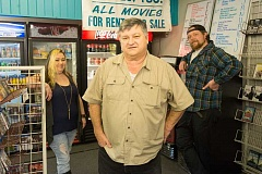ESTACADA NEWS PHOTO: JOSH KULLA - Margan Glover, owner Justin Venetucci and Mark Peterson are all familiar faces to customers at Just In Video in Estacada. The store has been open since 1995.