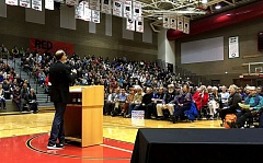 PAMPLIN MEDIA GROUP: PETER WONG - US Sen. Ron Wyden, D-Ore., speaks Saturday, Feb. 18, to about 1,500 people at a town hall meeting in the Oregon City High School gym.