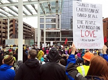 COURTESY PHOTO: KRISTIAN FODEN-VENCIL/OPB - A couple thousand people gathered in Director Park before marching through Portland streets Monday afternoon during the nationwide 'Not My President' protests. Several people associated with a separate rally and march were arrested.