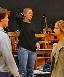 DAVID F. ASHTON - Under Milk Wood director Isabele McTighe leads Cleveland High student actors through physical warm-up exercises in preparation for a rehearsal of the play.