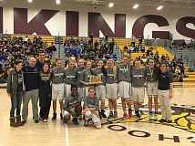 COURTESY PHOTO - Faith Bible celebrates their NWL championship following their game versus Vernonia Feb. 18 at Forest Grove High School.