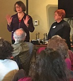 PHOTO BY DANA HAYNES - Sen. Ginny Burdick, left, and Rep. Margaret Doherty addressed an estimated 60 people today in downtown Tigard.