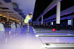 COURTESY OF MATTRESS FIRM - A participant at a past Pajama Bowl for Foster Kids slings a bowling ball at Big Al's.