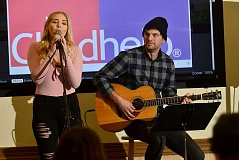 SPOKESMAN PHOTO: VERN UYETAKE - Singer and Oregon Connections Academy (ORCA)  alumna Lovely James put on a concert for ORCA students and their families gathered for a Childhelp anti-bullying and violence event at Bullwinkles.