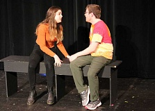 REVIEW PHOTO: JILLIAN DALEY - 'In Boy Meets Girl: A Young Love Story,' directed by LOHS senior Chloe Quinn, characters Katie (junior Carmen Thomsen) and Sam (junior Gareth Hart) move through the painful stages of a relationship, but as 5-year-olds mirroring the adult world.