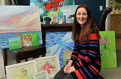 SPOKESMAN PHOTO: VERN UYETAKE - For local artist Kirsten Sneath, painting is an expression of joy and relaxation. With bright colors, her work shows her emotion.