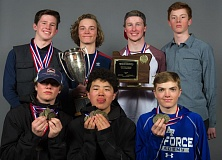 COURTESY MIKE JULIANA PHOTOGRAPHY - The Lakeridge boys ski team ruled at state last week, including (top row, left to right) Alex Johnson, Cooper Lawhead, Connor Hilts and Myles Willis, and (bottom row) Ty Glumbik, Jihoon Pak and Fletcher Mount.