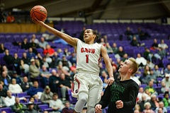 OUTLOOK PHOTO: JOSH KULLA - Clackamas High senior Elijah Gonzales drives the lane Wednesday during the Cavaliers' 68-52 win over West Salem in the quarterfinals of the OSAA class 6A state boys basketball tournament.