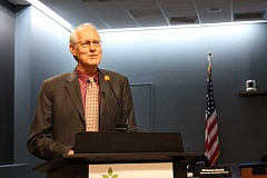 SPOKESMAN PHOTO: CLAIRE GREEN - Mayor Tim Knapp gave the State of the City address at the March 6. Covering elements of the Citys past and challenges, Knapps address painted an overall positive vision for the future.