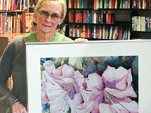 CONTRIBUTED PHOTO - Earlean Marsh holds her painting 'A Touch of Sun.' Marsh is the featured artist in the upcoming WyEast Artisans Guild show, 'Shadows.'