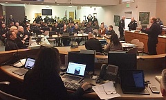 SUBMITTED PHOTO: CITY OF LAKE OSWEGO - Lake Oswego's Incident Command Center inside the City Hall council chambers was divided into teams on March 4 to coordinate law enforcements response to competing political rallies.