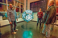 STAFF PHOTO: JONATHAN HOUSE - Stoecheia [ELEMENTS] is a glowing, 12-sided sculpture created by Lumina Lab's Lilli Szafranski and Jesse Banks, on display inside ACMA's Performing Arts Center.