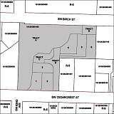 COURTESY OF WASHINGTON COUNTY - A site map shows, in dark gray, the 2.54-acre parcel on which Venture Properties Inc. has proposed a residential subdivision in Metzger. Tracts A and B on the map, a combined 1.35 acres of the parcel, would be set aside under the application made to Washington County.