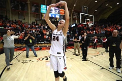 TRIBUNE PHOTO: JAIME VALDEZ - Senior Sydney Wiese dances one last time at Gill Coliseum after the Oregon State Beavers' NCAA Tournament second-round victory over Creighton on Sunday night.